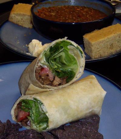 Cafe Indigo wrap, lentil soup, corn bread