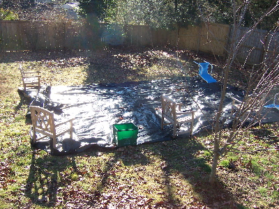 vegetable garden, black plastic cover to kill weeds