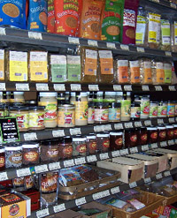 Raw junk food aisle at Green Life Groceries