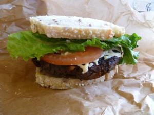 Mushroom swiss burger from Evolution