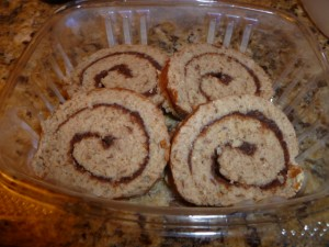 Raw cinnamon rolls from Peace Pies