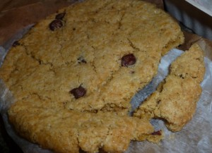 Sticky Fingers chocolate chip cookie (after surviving a flight from D.C. to Asheville)